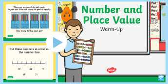 Year 2 Number and Place Value Maths Warm-Up PowerPoint - KS1 Maths Warm Up Powerpoints, maths, number, place value, KS1, year two, Y2, year 2, SATs, warm up,