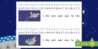 Back to Earth with a Bump Alphabet Strips - twinkl originals, fiction, space, spelling, writing aid, abc, display, table top