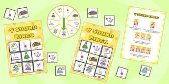 y Sound Bingo Game with Spinner - y sound, sound, sounds, bingo