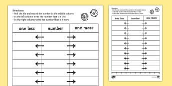 One More One Less Dice Worksheet / Activity Sheet - dice games, numeracy, One more, one less, Dice, counting