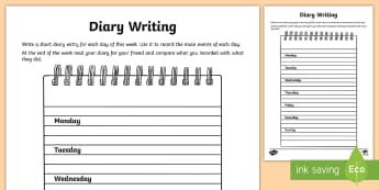 Diary Writing Activity Sheet - diary, record keeping, creative writing, activity sheet, worksheet, days of the week, worksheet