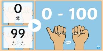 0-100数字和单词幻灯片 - 100以内数字,排列数位,数学,数数,幻灯片