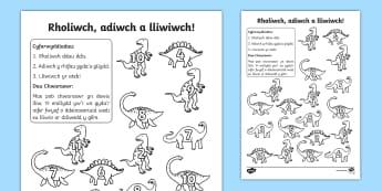 Taflen Waith Lliwio a Rholio Deinosoriaid - lliwio wrth rhifo, deinosoriaid, cyfri, adio, rhifedd, mathemateg, gem ,Welsh