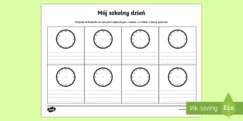 Karta Mój szkolny dzień - zegar, czas, plan, zajęcia, lekcji, godzina, godziny,Polish