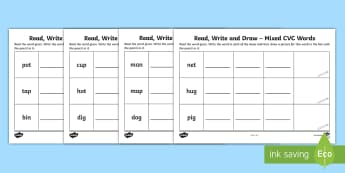 Read, Write and Draw Mixed CVC Words Activity Sheet - Phonics, Initial Sounds, Blending, Sounding Out, Assessment, Irish, Worksheet