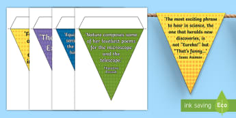 Science Quotes Motivational Display Bunting  - science quotes, display, inspiration, discussion, bunting