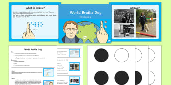 World Braille Day Whole School Assembly Script and PowerPoint Pack - KS1/2 World Braille Day  (4.1.17), braille, blind, national blind awareness, national braille week,