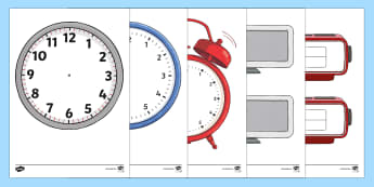 Blank Alarm Clock Template Cut-Outs - Blank Clock Templates - blank clock templates, blank clock, time, clock, template, templates, making