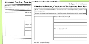 Elizabeth Gordon Countess of Sutherland Differentiated Fact File Template