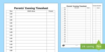 Parents' Evening Editable Timetable - parents evening timetable, Parents evening Tips, Parents Evening Support for NQTs, NQTs Parents Even