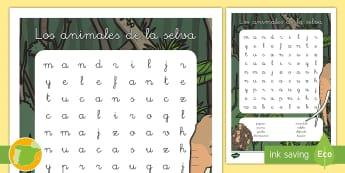Sopa de letras: Los animales de la selva - animales, grupos, clasificación, hábitats, donde viven