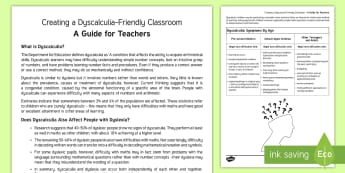 Creating a Dyscalculia-Friendly Classroom Guide - SEN Friendly Classrooms in Key Stage 3, dyscalculia, dyslexia, SEN