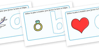 Alphabet Playdough Mats (French) - Playdough mat, playdough resources, literacy, alphabet, letters, playdough
