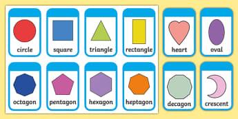 2D Shape Flashcards (inc. Shape Names) - 2D Shape names, Shape Flashcards, Shape Pictures, Shape Words, 2D flashcards, numeracy, geometry, shapes, 2d, flashcards