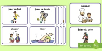 Flashcards : Mes passe-temps - KS1, cycle 2, cycle 1, lecture, flashcards, passe-temps, loisirs, activités, temps libre,French