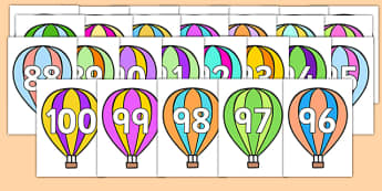 Numbers 0-100 on Hot Air Balloons - Hot Air Balloon, Foundation Numeracy, Number recognition, Number flashcards, 0-100, A4, display numbers