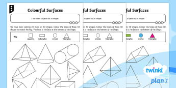 * NEW * PlanIt Maths Y2 Properties of Shapes Surface Shapes Home Learning Tasks - KS1, Year 2, 2D shapes, 3D shapes, home learning, home work, homework