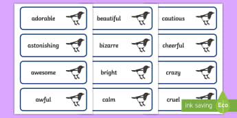 Magpie Wall Adjectives Word Cards - working walls, english Working Walls, cards, display, adjective
