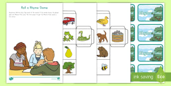 Roll a Rhyme Game -  Rhyming Pairs, Word Families, hands-on Learning, word patterns, spelling patterns, letter sounds, p