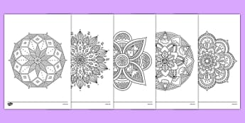 Mandala Themed Mindfulness Colouring Sheets - colouring, pd, fine motor skills, well being, stress, relax, unwind, early years, ks1, ks2, art, home learning, display, religion, RE, Hindu, rangoli
