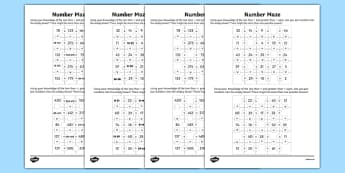 Place Value Number Maze Worksheet / Activity Sheet Pack, worksheet