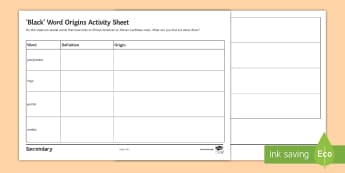 African and Afro-Caribbean Word Use in English Worksheet / Activity Sheet - black history, black history month, black words, word use, word origins, dictionary skills, vocabula