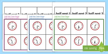 Half Past Time Bingo English/Spanish - Half past time bingo, Time bingo, time game, Time resource, Time vocaulary, clock face, Oclock, half