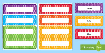 Editable Polka Dot Name Plate Desk Labels - names, name stickers, table, label, new children.