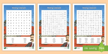 Henry Lawson Differentiated Word Search - ACHASSK110, Australia, poetry, outback, poem, Henry Lawson, goldfields, Australian history, 5/6, poe