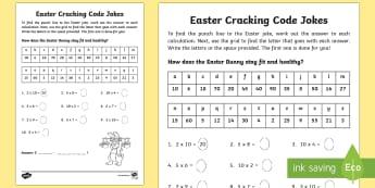 Easter Joke Multiplication Code Breaker Activity Sheet - NI, Easter, numeracy, maths, code, times tables, multiply, multiplication, times, lots of, jokes, co
