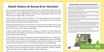 Should Violence Be Banned from Television? Discussion Writing Sample - Literacy, Should Violence Be Banned from Television? Discussion  Writing Sample  year 3, year 4, eng