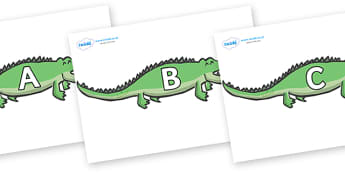 A-Z Alphabet on Crocodiles - A-Z, A4, display, Alphabet frieze, Display letters, Letter posters, A-Z letters, Alphabet flashcards