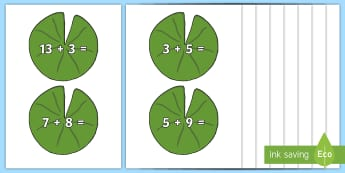 Lily Pad Number Sentences to 20 Display Cut-Outs - Lily Pad Number Sentences to 20 Display Cut-Outs - Maths display resources,