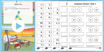 Common Factors PowerPoint Differentiated Lesson Teaching Pack - year 5, year five, year 6, year six, common factors, powerpoint, task setter, words, factors