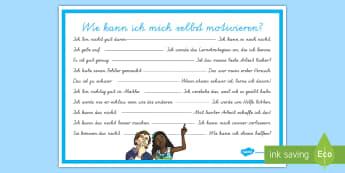 Wie kann ich mich selbst motivieren? Poster für die Klassenraumgestaltung - Selbstmotivation, positives denken, Hilfe, positiv, gutes Verhalten, Motivation,German