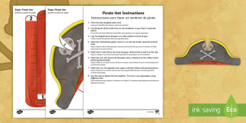 * NEW * Pirate Hat Paper Craft - English / Spanish - Pirate Hat Paper Craft Template - Pirate, Paper, Hat, Head, Cut, Model, Pirates, pirtaes, tempelte,