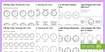 Tell the Time Differentiated Activity Sheets Maths Resource Pack - time, clocks, hours minutes, sen, ks3