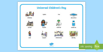 KS1 Universal Children's Day Word Mat - universal children's day, children's rights, education, children around the world, writing aid