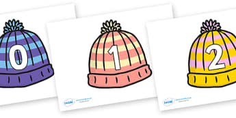 Numbers 0-30 on Woolly Hats - Christmas, xmas, winter, hat, hats, woolly, angels, advent, nativity, santa, father christmas, Jesus, tree, stocking, present, activity, cracker, angel, snowman, advent , bauble, Foundation Numeracy, Number recognition,