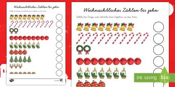 Weihnachtliches Zählen bis 10 Arbeitsblatt-German - Weihnachten, Dezember, Advent, Zahlen, Nummern,,German
