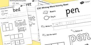 CVC Writing Word Activity Sheet Pack 'e' with British Sign Language, worksheet