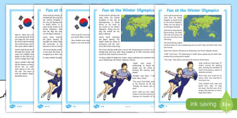 KS1 Fun at the Winter Olympics Fact File - winter, olympics, story, fiction, comprehension