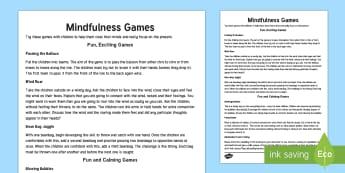 Mindful Me: Mindfulness Games Teaching Ideas - Mindfulness