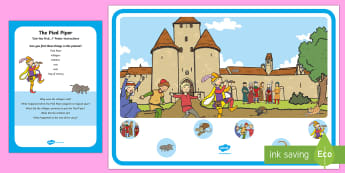 The Pied Piper Can You Find...? Poster and Prompt Card Pack - EYFS, Early Years, The Pied Piper, Hamelin, Traditional Tales, Speaking and Listening, Communication