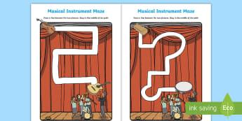 Musical Instrument Themed Pencil Control Activity Sheets  - Musical Instruments pencil control, Music, Musical, instruments, pencil control worksheets, fine mot