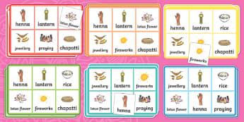 Diwali Bingo - ESL Diwali Vocabulary Bingo