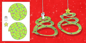 Simple Paper Tree Ornament Craft Activity - activities, crafts