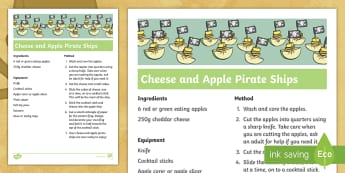 Cheese and Apple Pirate Ships Recipe Step-by-Step Instructions - Cookery, Food Technology, Life Skills, SEN, Topic, Sensory, Practical activity
