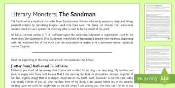 Literary Monsters: 'The Sandman' Activity Sheet - sandman, hoffmann, halloween, monster, myth, legend