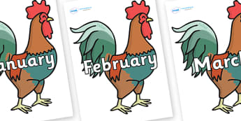 Months of the Year on Rooster - Months of the Year, Months poster, Months display, display, poster, frieze, Months, month, January, February, March, April, May, June, July, August, September